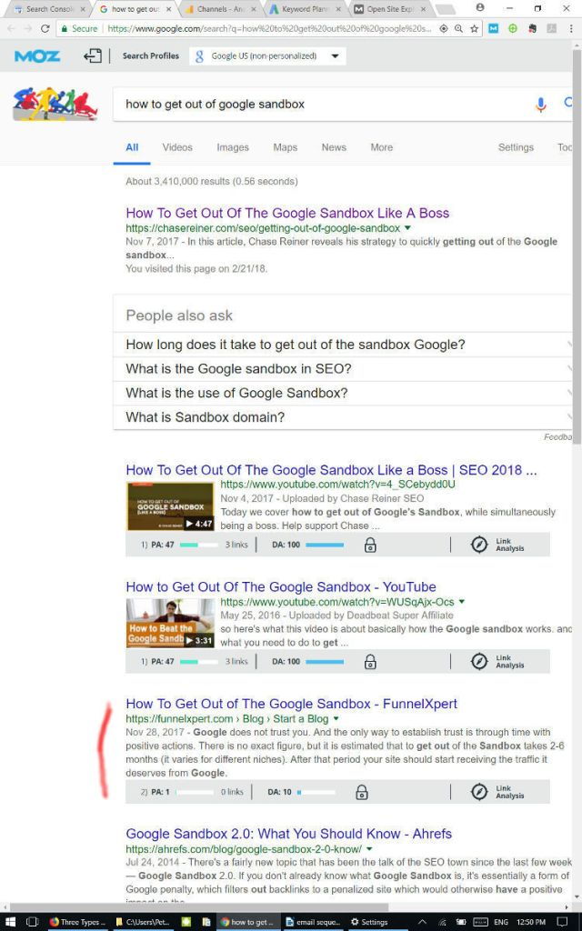 Google Sandbox first page