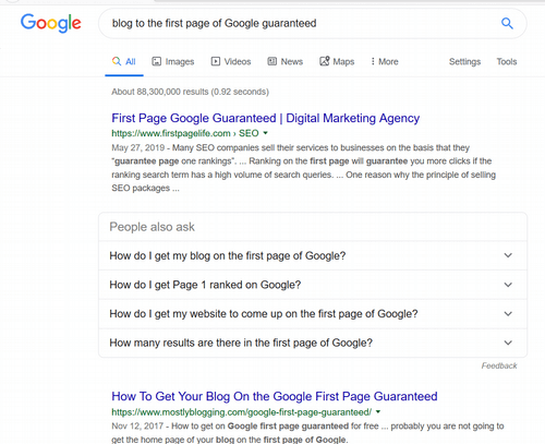 blog to the first page of google guaranteed