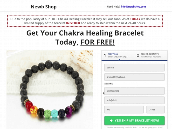 chakra healing bracelet order form