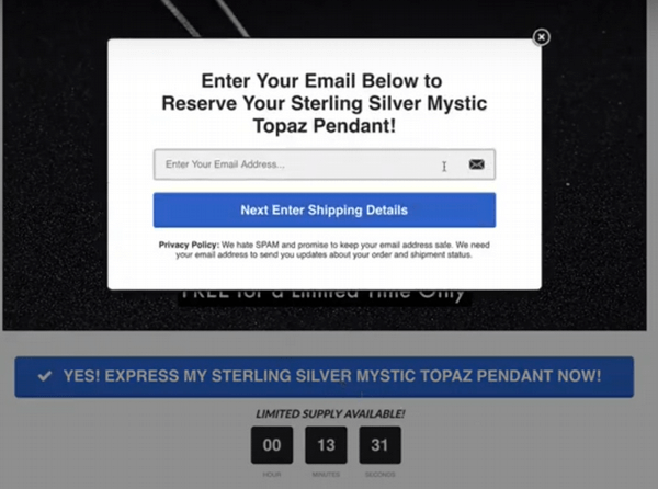 mystic topaz landing page email opt in