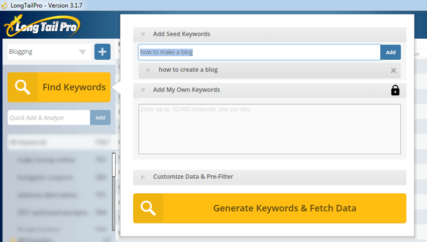 generate keywords