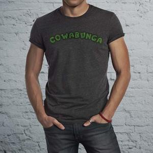 Cowabunga: TMNT inspired 80's turtle shell men's dark T-Shirt.