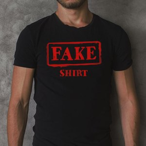Fake Shirt: Funny Fake News design on a black men's t-shirt.