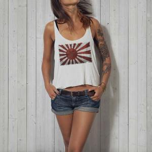 Japanese Land of the Rising Sun Flag women's white tanktop.