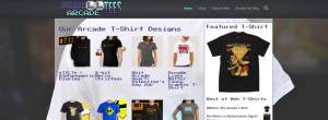 Arcade Tees available at arcadetees.com. Website screen capture.