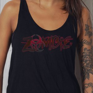 Zombie Biohazard logo design on a women's black tanktop closeup.