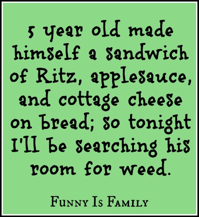5 year old made himself a sandwich of Ritz, applesauce, and cottage cheese on bread; so tonight I'll be searching his room for weed.