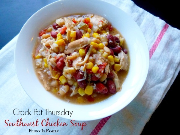 This Crockpot Southwest Chicken Soup recipe is hearty, healthy, and easy to prepare. Throw this in the slow cooker for a quick, family-friendly dinner idea!
