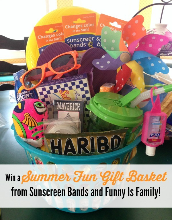 """Win a """"Fun in the Sun"""" gift basket from @sunscreenbands and @funnyisfamily, valued at $50!"""