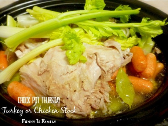 This Crockpot Turkey or Chicken Stock will make your house smell incredible! Use your leftover turkey or chicken to make stock that freezes beautifully and can be used in soups, or for tons of other recipes!