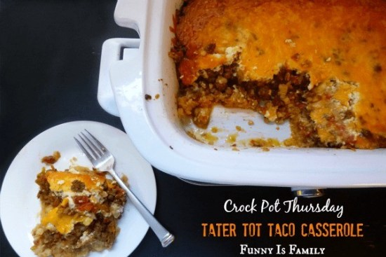 This Crockpot Tater Tot Taco Casserole is a hearty, family-friendly dinner idea. The beef, cheese, tomatoes, and tater tots come together for a casserole recipe your family will love!