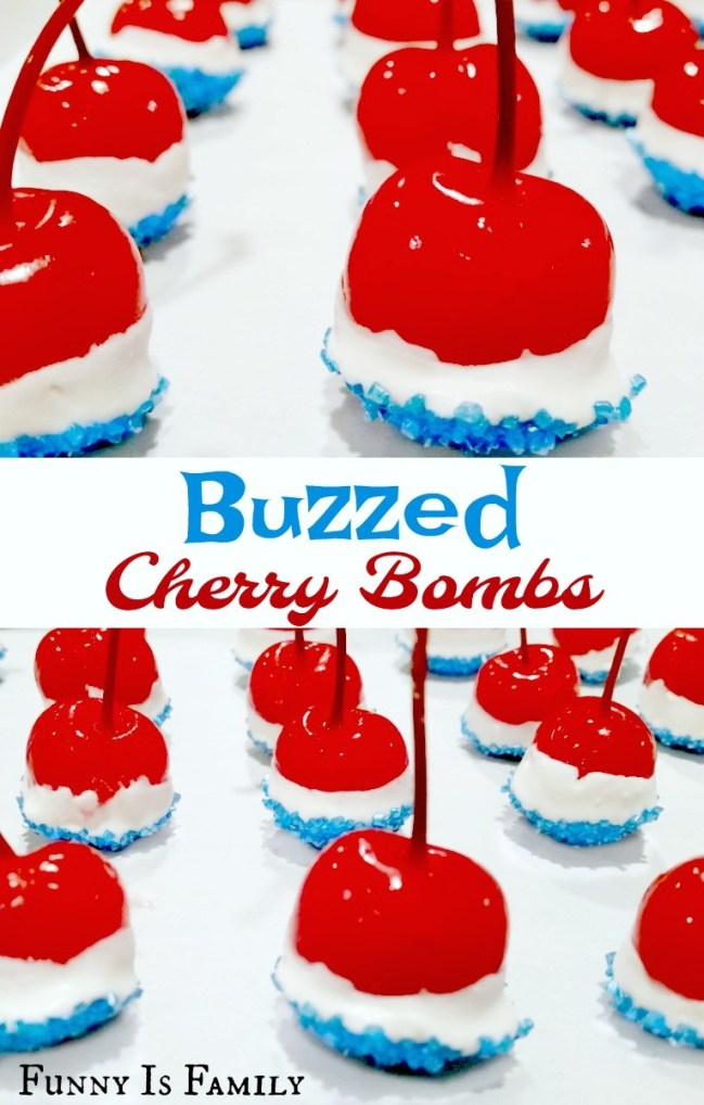 These Buzzed Cherry Bombs are perfect for Memorial Day or the 4th of July and only contain four ingredients!