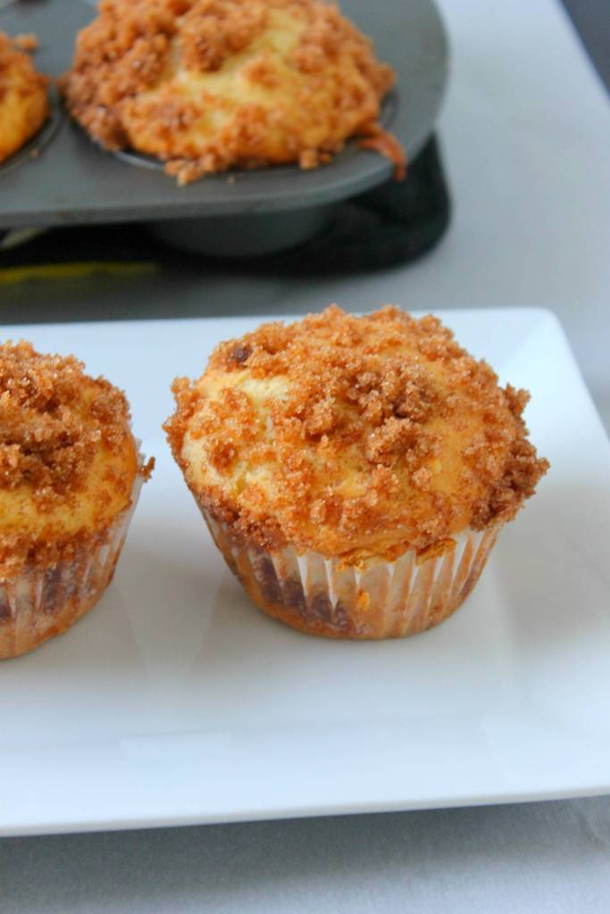 Moist coffee cake muffins with crumbly streusel topping is the perfect breakfast!