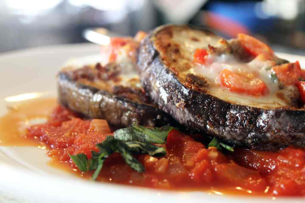 Layered eggplant with basil