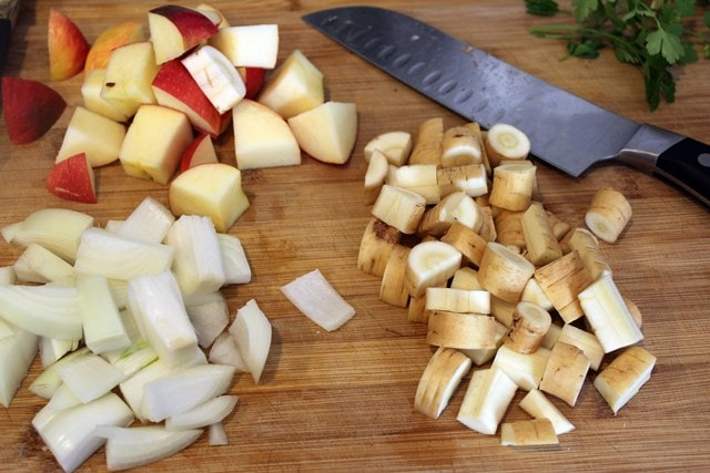 Cut veggies and apple into chunks