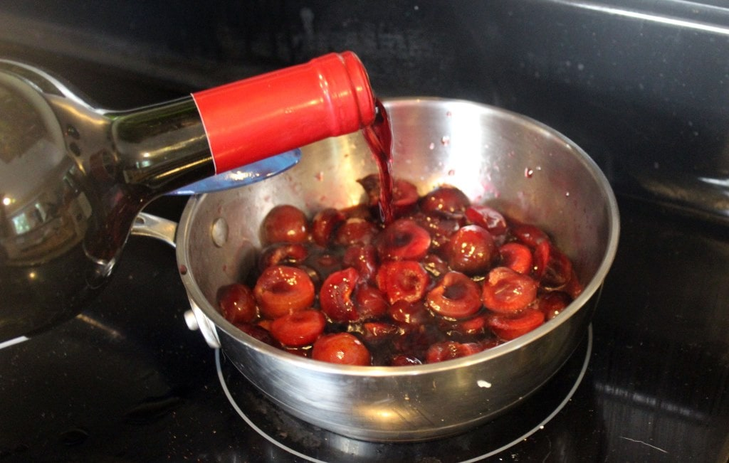 Add wine to pot