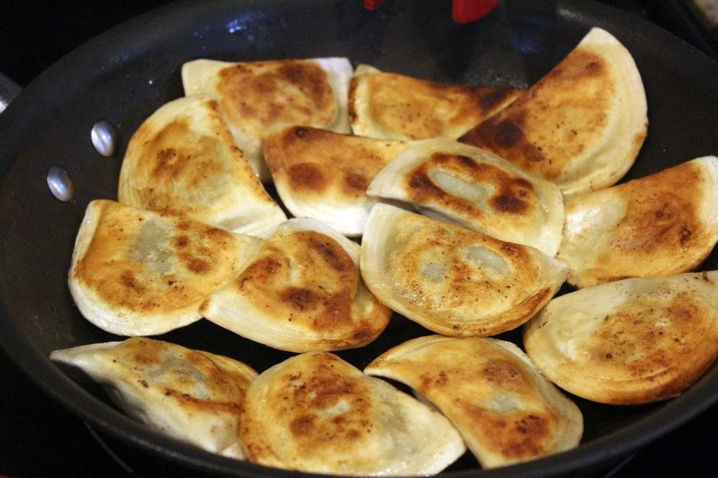 Crispy cooked pierogi