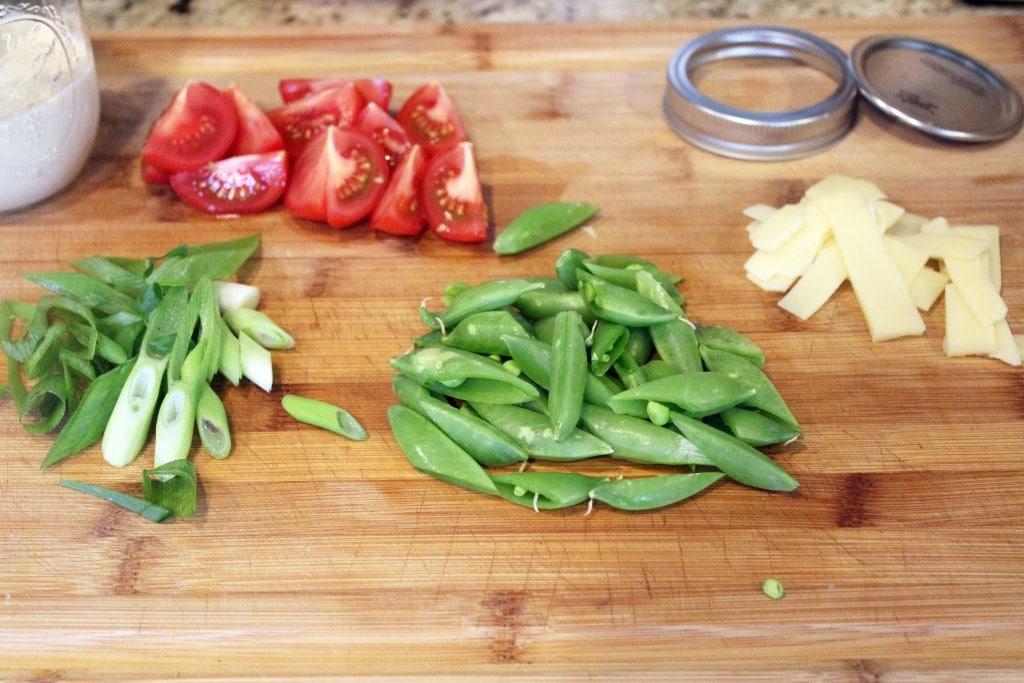 Prep veggies while pancetta cooks