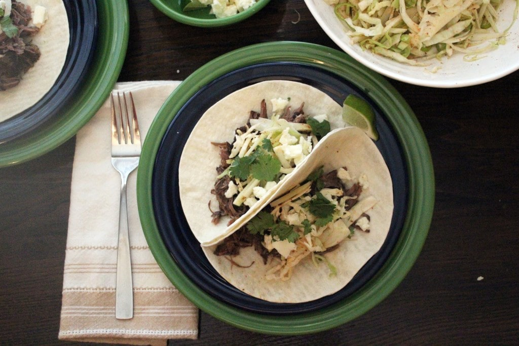 Two plated tacos