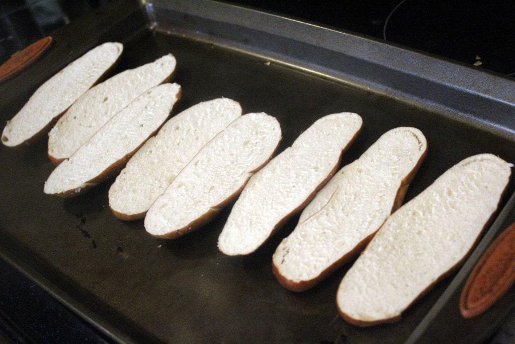 Arrange bread for initial broil