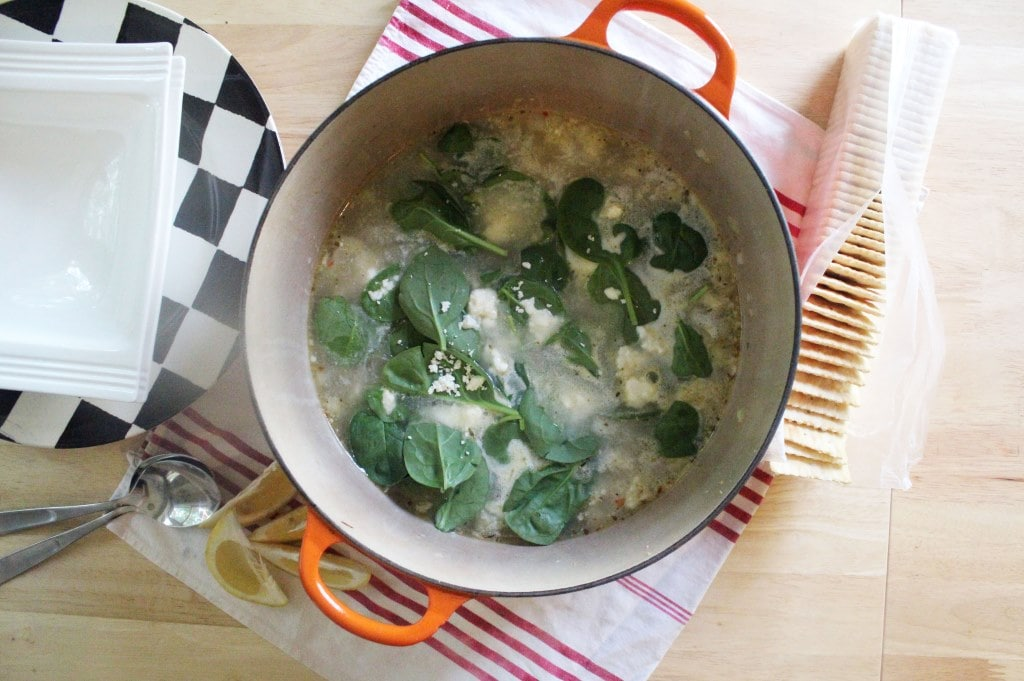 Pot topped with spinach and feta
