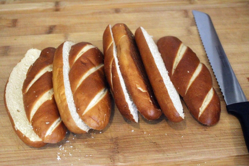 Slice bread in half