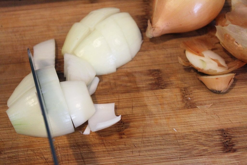 Cut onion into large chunks