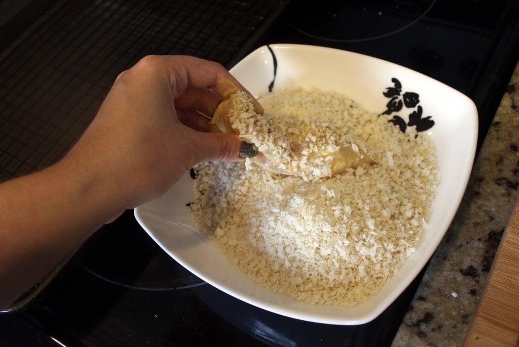 Mash breadcrumbs into mustard