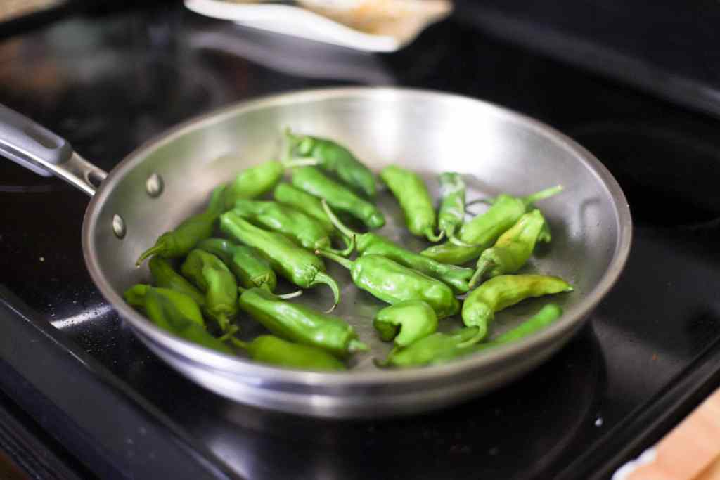Blistered Shishito Peppers with Dashi Soy Sauce