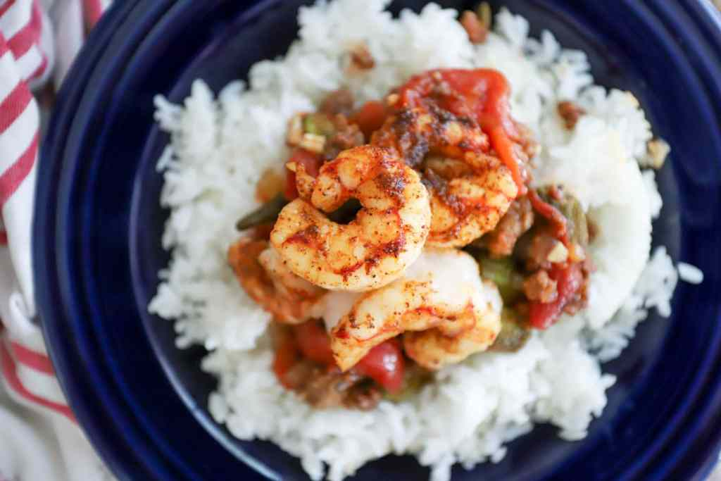 Quick Sausage Gumbo with Blackened Shrimp