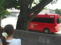 地元消防の「指揮車」と「ドクターヘリ」