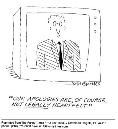 Funny john grimes apologies  cartoon, May 21, 2003