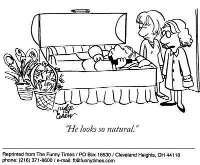 Funny death funeral casket  cartoon, December 31, 2003