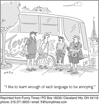 Funny marriage language travel  cartoon, August 18, 2010