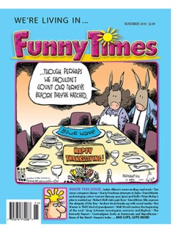 Funny Times November 2018 Issue Cover - Tom Toles Thanksgiving Midterms