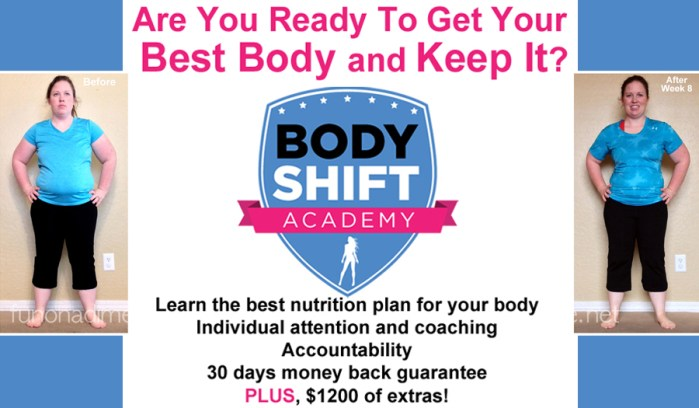 Body Shift Academy Currently Open - Learn the best nutrition plan for your body, individual attention and coaching. Accountability, 30 days money back guarantee PLUS, $1200 of extras