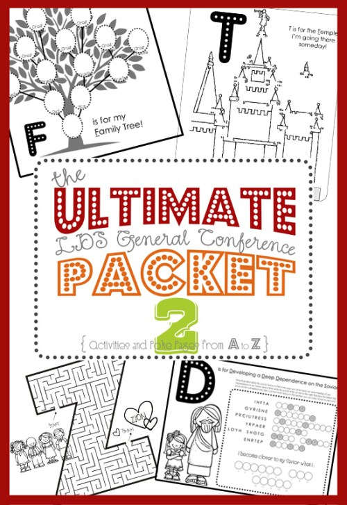 A fun variety of activities for your child during General Conference, Mazes, dot-to-dots, coloring pages, poke holes, etc.