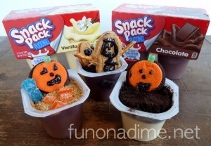 Who says your after school snacks can't be fun? Let the kiddos get creative after school. This is a really fun idea! Halloween themed pudding snack packs