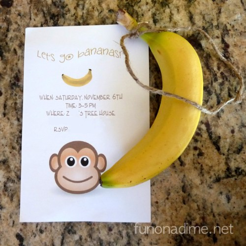Jungle Theme Birthday Party Invitation - with Monkey
