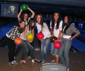 Group of Girls Bowling
