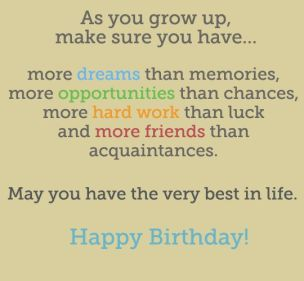 Birthday Quotes for Teenage friends
