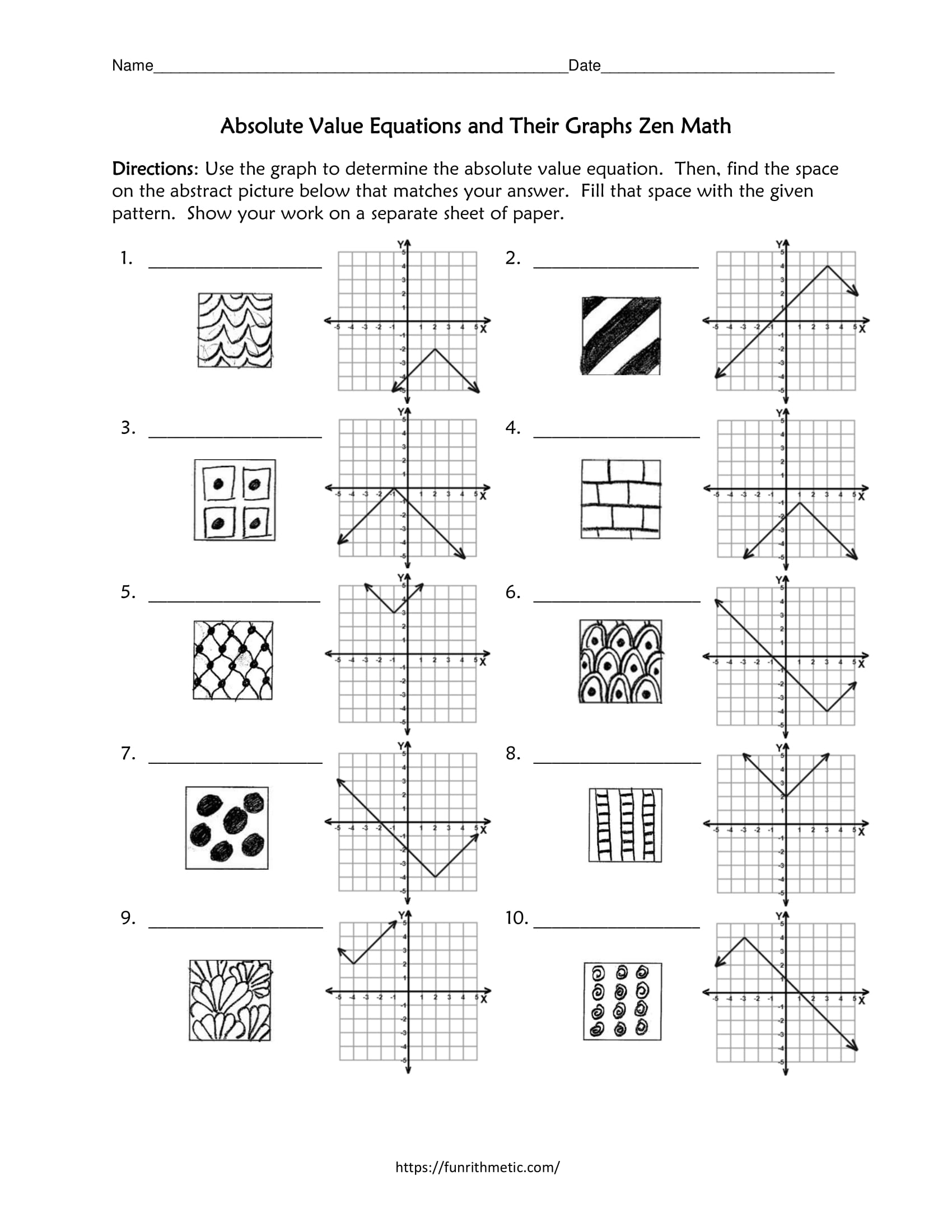 Absolute Value Equations and Their Graphs Zen Math Within Graphing Absolute Value Equations Worksheet