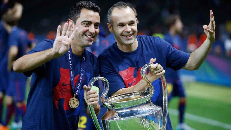 Messi, Xavi and iniesta : berca first treble winning team player
