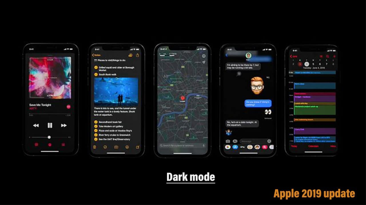 iOS 13 with dark mode for iPhone