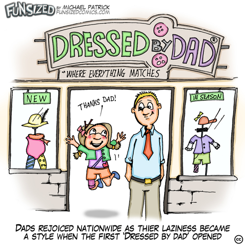 Fun Sized comic cartoon Dressed by dad and daughter shop for mismatched clothes