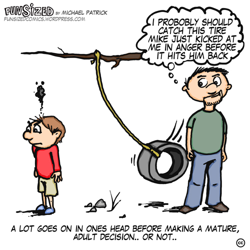 Fun sized comic cartoon dad and son kicking tire swing karma kicking butt