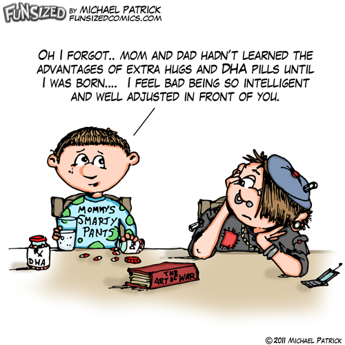 fun sized funny parenting comic two brothers talking about vitamins and DHA pills gothic looser goodie two shoes