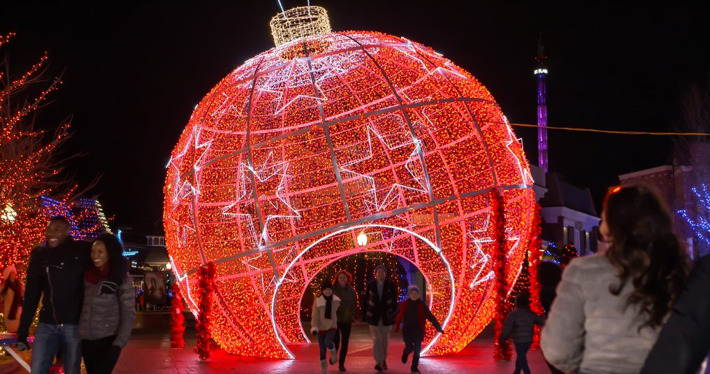 Six Flags Holiday in the Park - large illuminated Christmas ornament
