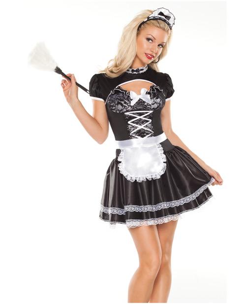 2 pc flirty french maid dress & headband black