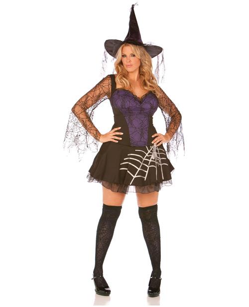 black magic dress w/spiderweb sleeves & hat black